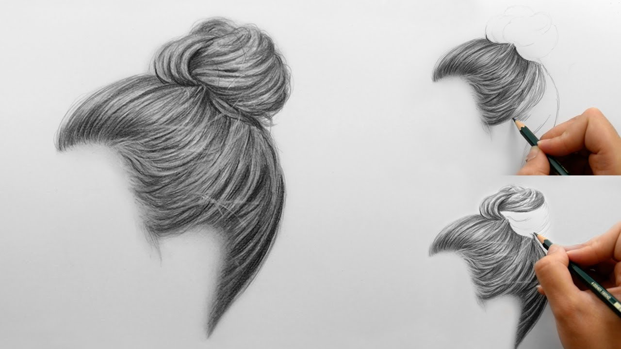 Step by Step | How to draw shade realistic hair bun with ...