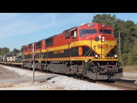Military Kansas City Southern Train Northbound + 6 More, Hull - Comer, GA, 10/24/2016