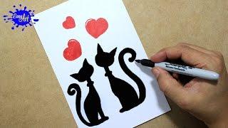 Como hacer una tarjeta de amor san valentin/ How to draw a love card / Gatos enamorados