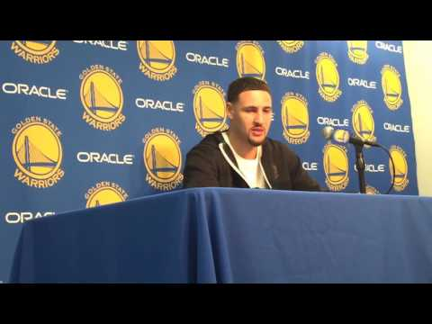 KLAY THOMPSON, POSTGAME Golden State Warriors (66-14) vs New Orleans Pelicans