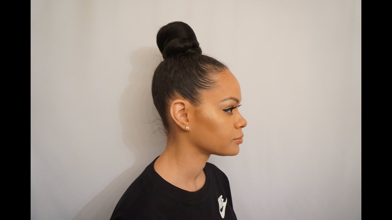 Top Knot   High Bun with Kanekalon Braiding hair - YouTube