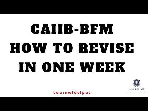 HOW TO REVISE BFM IN ONE WEEK  || CAIIB ||