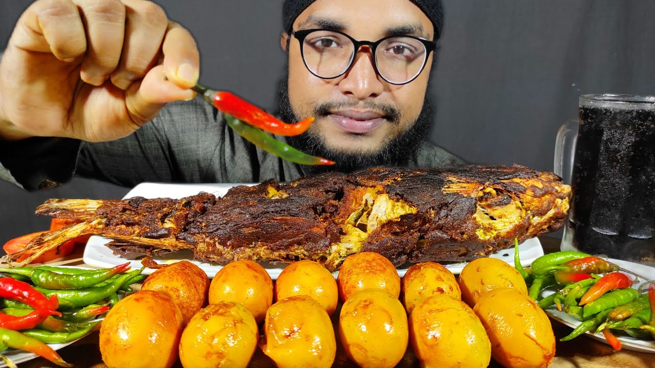 SPICY FULL FISH FRY EATING CHALLENGE   FISH FRY EATING, BOILED EGGS EATING CHALLENGE, EATING VIDEOS