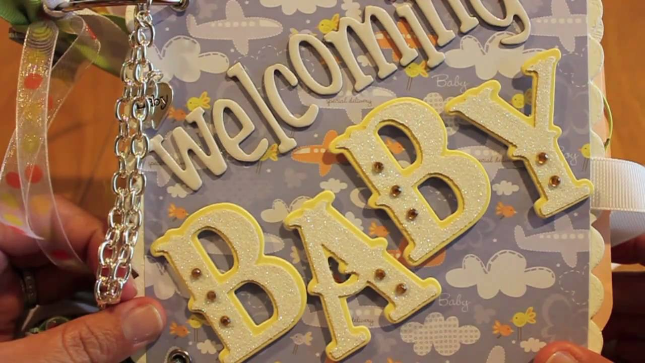 Baby Shower Scrapbook Pages Part - 41: Baby Shower Scrapbooking Mini Album - YouTube
