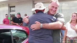 Son surprises dad with his restored 1970's Pontiac GTO at Greenwood classic car hangout
