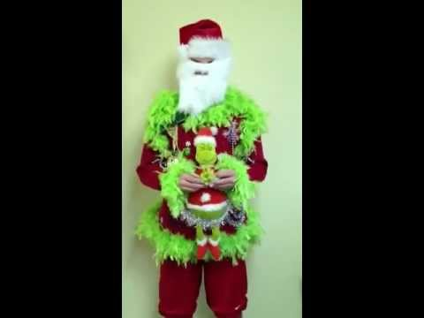 lime green feather foo foo light up talking grinch ugly christmas sweater - Grinch Ugly Christmas Sweater