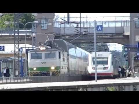 Finnish electric locomotive Sr1 and PENDOLINO highspeed train @ Karjaa