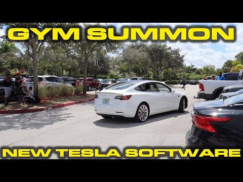 Gym Freaks Out Over Smart Summoning Tesla Model 3 In Crowded Parking Lot - New V10 Software Updates