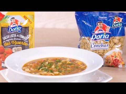Sopa minestrone con conchas doria