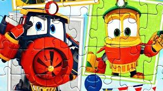 Роботы Поезда спешат на помощь собираем пазлы для детей с героями мультика Robot Trains