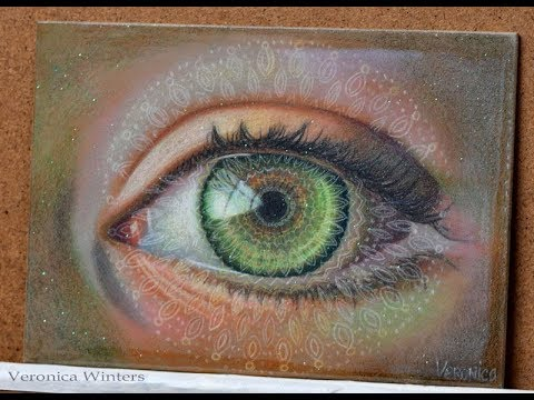 Green Galactic Eye Colored Pencil Drawing with Resin & Glitter