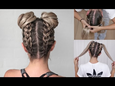 Upside down Dutch Braid into Messy Buns