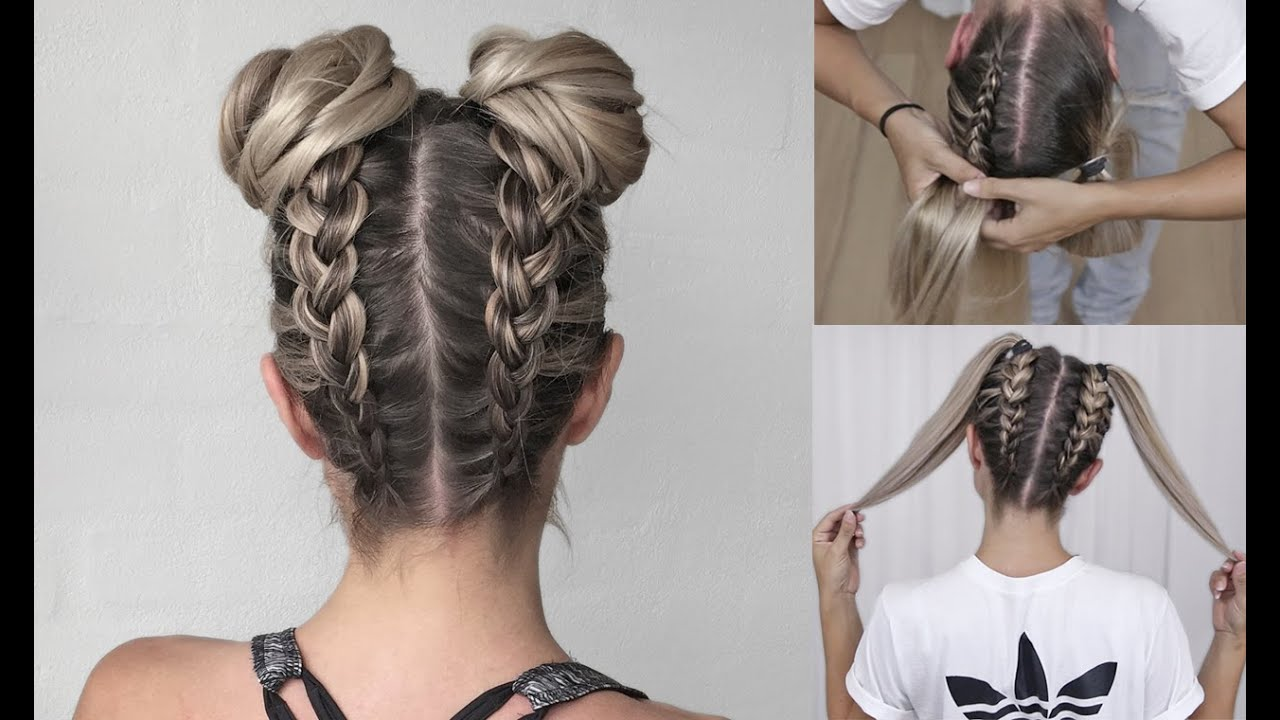 Space Buns  Double Bun  Upside Down Dutch Braid Into Messy Buns  Diy  Tutorial!