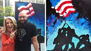 FULL VIDEO - Man Paints Patriotic Portrait While Singing The National Anthem LIVE! (REACTION)