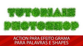 🚀 Action para criação de efeito grama em palavras e shapes no Photoshop