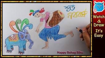 How to draw pohela boishakh greeting card dance zozo how to draw pohela boishakh greeting card easy baisakhi poster m4hsunfo