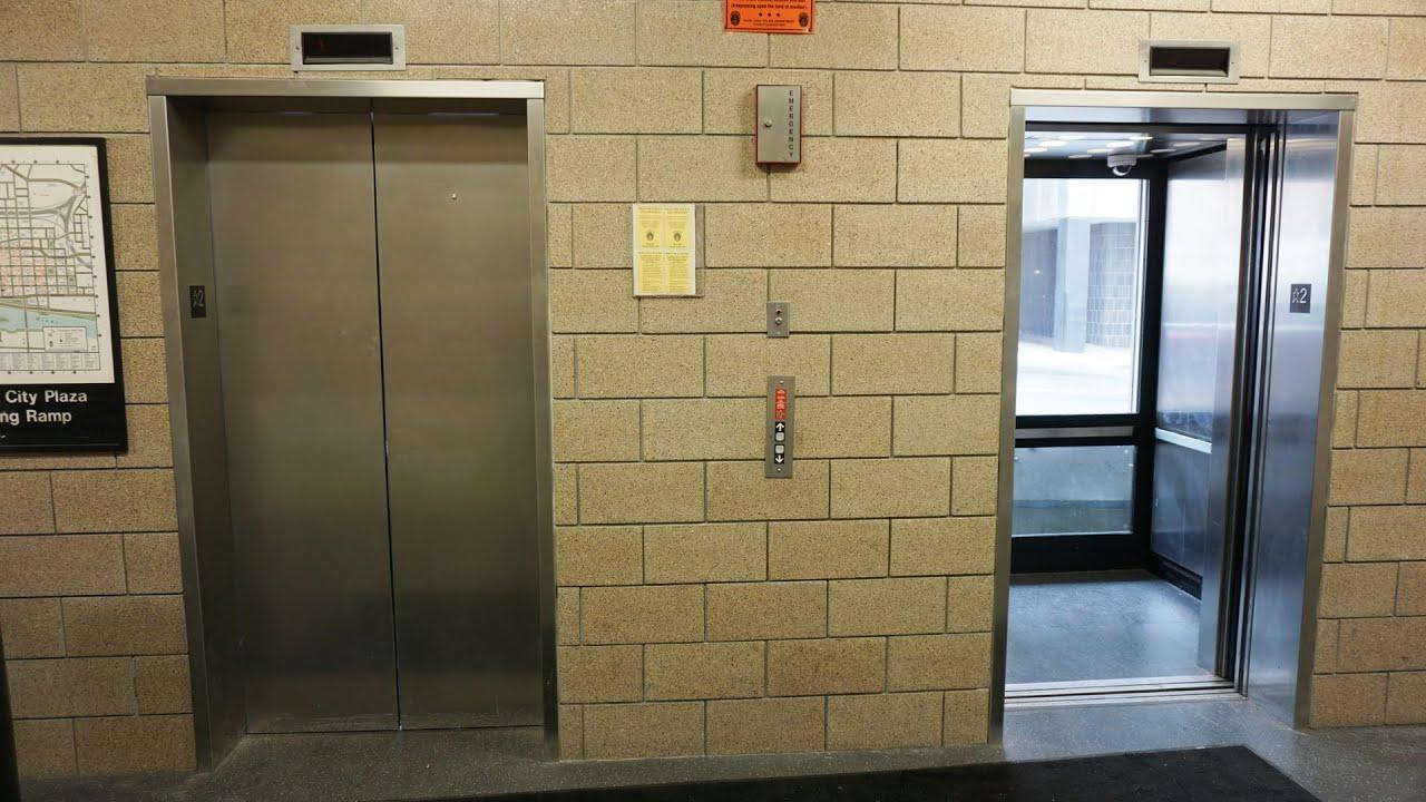 Scenic 2000 ThyssenKrupp hydraulic elevators @ Capital City Plaza Parking Ramp, Saint Paul, MN