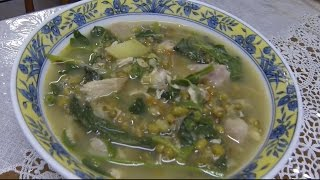 Cooking Mongo Beans with Green Vegetable Soup