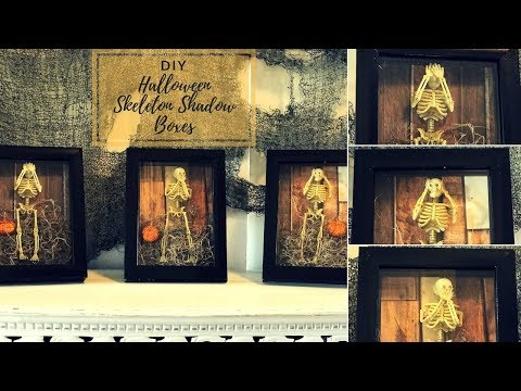 DIY EASY HALLOWEEN SKELETON SHADOW BOX DECOR