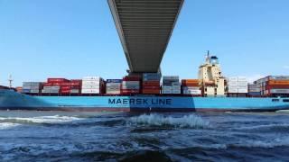 Cargo ship going under Ravenel bridge