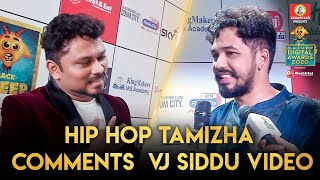 Hiphop Tamizha Comments VJ Siddu Video | Blacksheep Digital Awards 2020 | Blacksheep