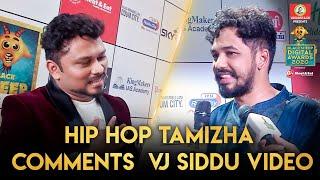 Hiphop Tamizha Comments VJ Siddu Video | Blacksheep Digital Awards 2020 | Blacksheep