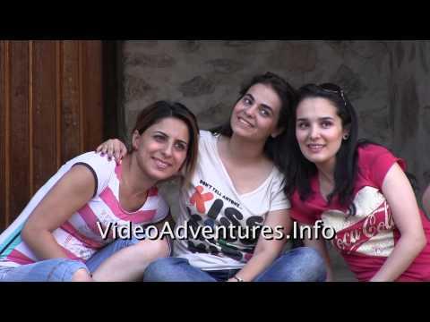 Photographing Azeri women at Yukari Karavansarai Seki Azerbaijan
