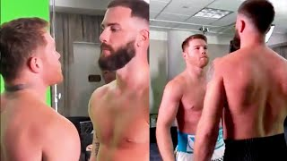 CANELO & CALEB PLANT SHARE INTENSE FIRST FACE OFF! AS CALEB PLANT TRIES TO INTIMIDATE CANELO!