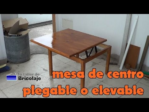 C mo hacer una mesa de centro plegable o elevable youtube for Mesa plegable trabajo