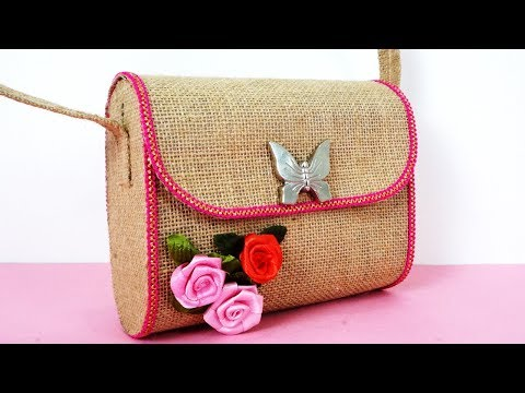 DIY Jute Bag - How to Make Multiuse Handmade Jute Bag || DIY Purse Making || No  Sew Purse