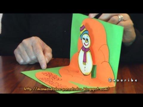 Tarjeta 3d de navidad manualidades para todos youtube for Crear mi casa en 3d