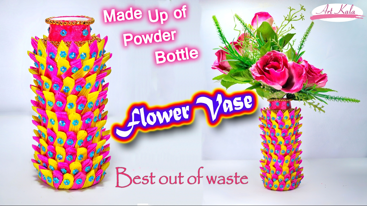 How to make flower vase reuse empty powder bottle in for Best out of waste making