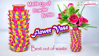 How to make flower vase | plastic bottle craft | best out of waste | DIY | Artkala 111