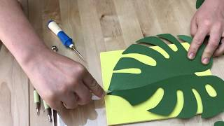 Paper leaves sculpturing Monstera paper leaves/how to make monstera paper leaf/PDF SVG leaf template