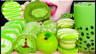 ASMR GREEN TEA DESSERTS *BOBA BUBBLE TEA, GREEN TEA CAKE 녹차 버블티, 녹차 케이크 먹방 EATING SOUNDS