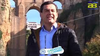 Juanma Moreno promete conectar las ocho capitales de provincia con un gran corredor verde