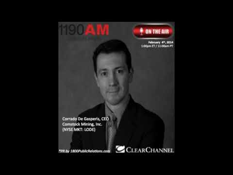 Corrado De Gasperis CEO Of Comstock Mining Interview On Clear Channel The Traders Network Show