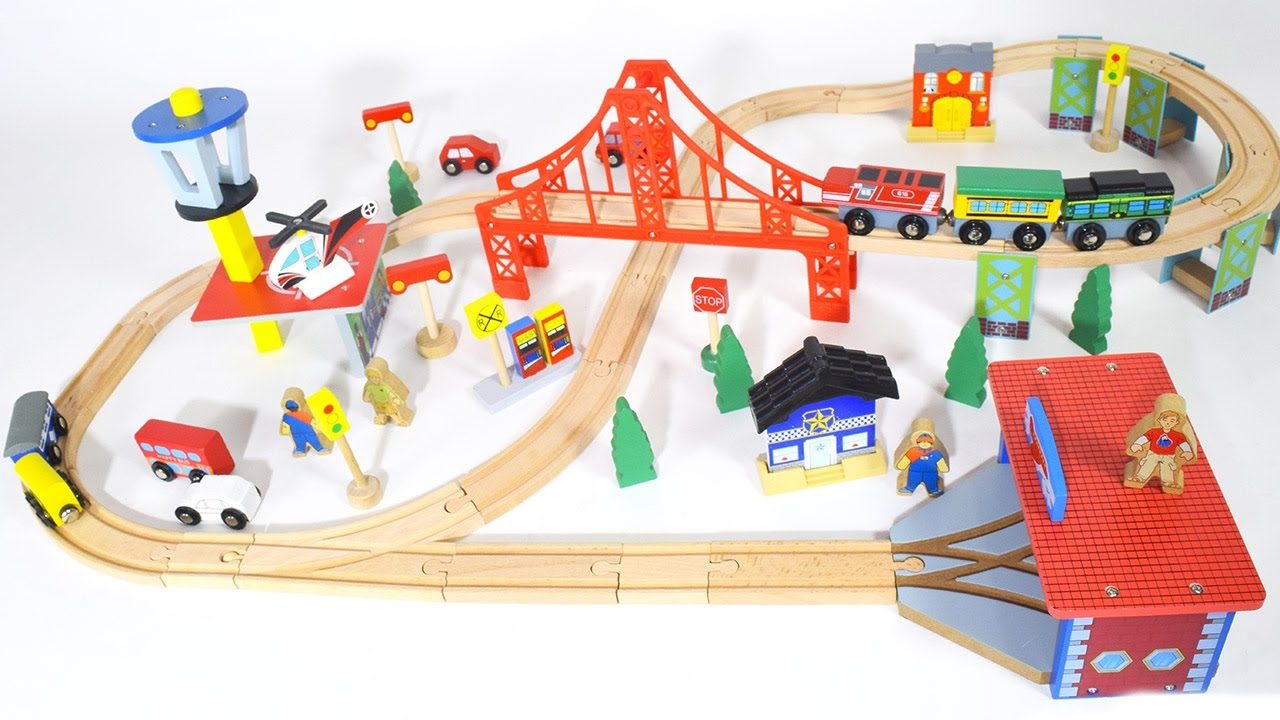 wooden train set choo choo train for children train videos for kids toy trains youtube. Black Bedroom Furniture Sets. Home Design Ideas