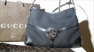 GUCCI REINS LEATHER AND CANVAS BAG