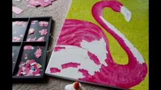 """Gambar cover Paper Mosaic by Crystal Davis. The making of """"Sticks"""" the flamingo."""