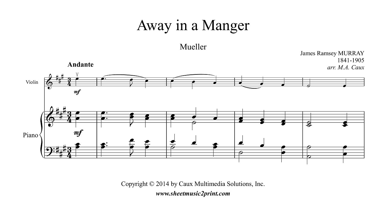 Murray away in a manger violin youtube