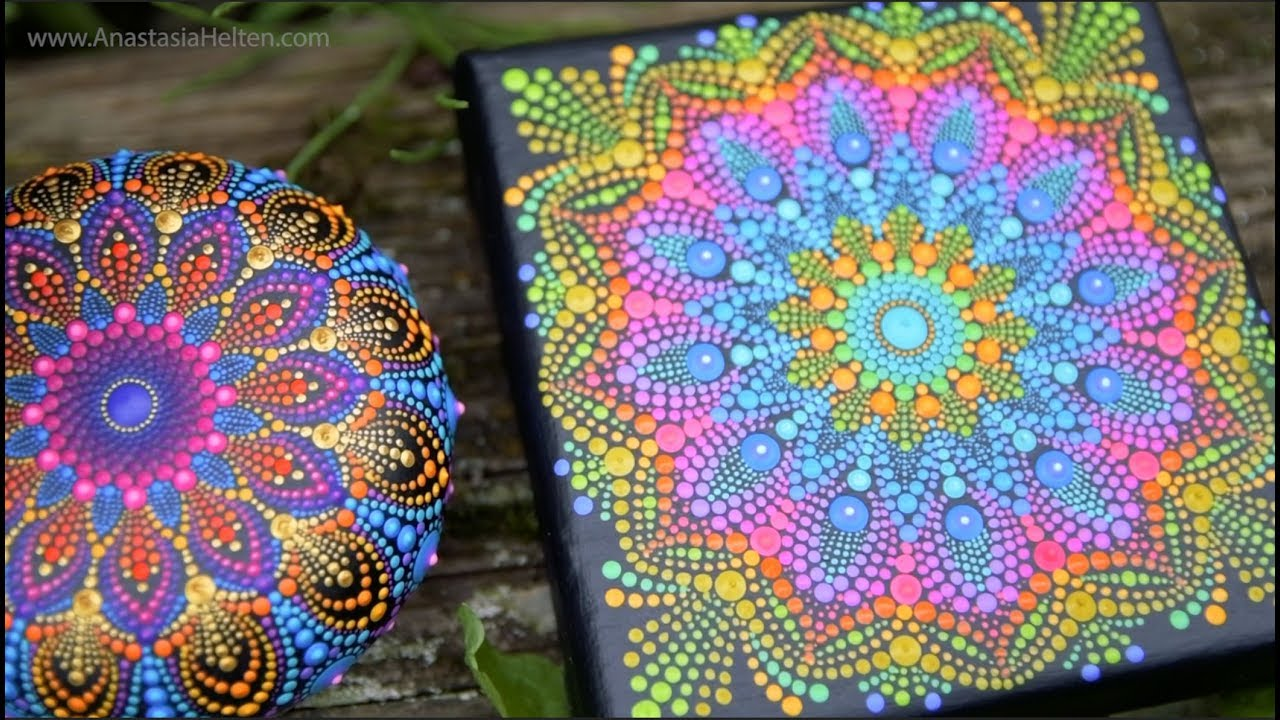 Mandala painting on canvas timelapse youtube for How paint on canvas