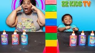 Twin Telepathy Slime Challenge ZZ Kids TV