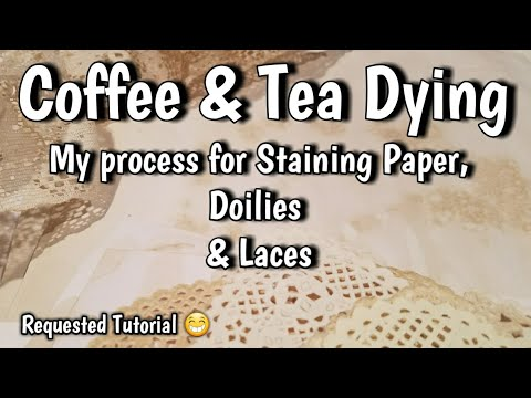Coffee and Tea Dying Paper & Trims - Requested Video on my Process of Staining Papers for Journaling