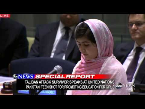 Girl Shot in Head by Taliban, Speaks at UN: Malala Yousafzai United Nations Speech 2013