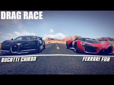 BUGATTI CHIRON VS FERRARI F80 DRAG RACE | ASSETTO CORSA