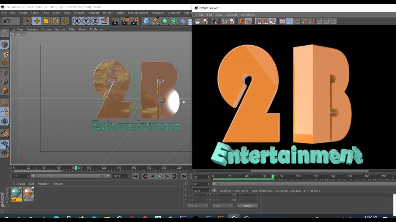 How to : Make 3D logo : [ 2d entertainment ] in Cinema 4D and After effect Composition
