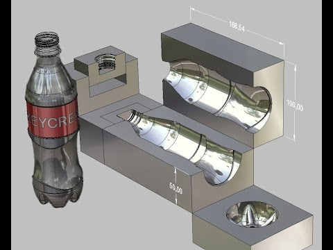 PLASTIC BOTTLE & MOLD: SolidEdge / KeyCreator - (Tool Engaged)