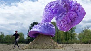 EXPERIMENT : Big Purple Eruption Volcano Toothpaste From Coca-cola ,Fanta , Mirinda and MENTOS