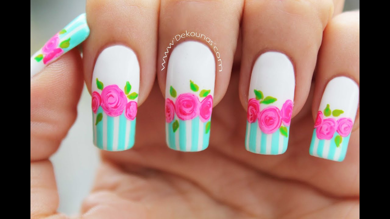 Decoraci n de u as rosas vintage vintage roses nail art for Decoracion de unas de rosas